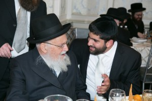 "The author with his Rebbe, Rabbi Yaakov Peretz shlit""a"